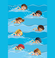 many kids swimming in pool vector image vector image