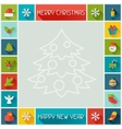 Merry Christmas and Happy New Year frame vector image vector image