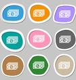 money dollar symbols Multicolored paper stickers vector image vector image