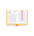 open book in yellow cover with bookmark vector image