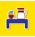 Paper sticker on stylish background coffee cup of
