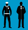policeman and doctor silhouette icon service 911 vector image