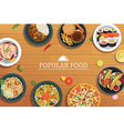 popular food on a wooden background popular food vector image vector image