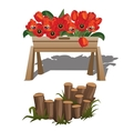 Red poppies in wooden box and timber vector image vector image