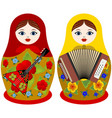 russian nesting dolls with musical instruments vector image vector image