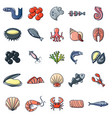 seafood fish ocean icons set cartoon style vector image vector image