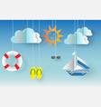 summertime background with summer icons vector image
