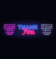 thank you neon sign thank you design vector image