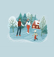 winter family pastime people skating at rink vector image vector image