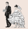 young couple on the wedding ceremony vector image vector image
