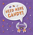 scary but cute hungry halloween monster vector image