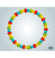 colorful puzzle round frame vector image