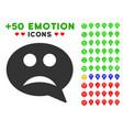 sad smiley message icon with bonus facial set vector image