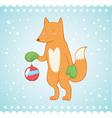 Cute fox Christmas greeting card vector image