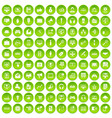 100 web and mobile icons set green vector image vector image