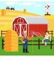 a boy and farmer at farm with barn vector image