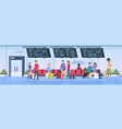 airport terminal people travelers sitting waiting vector image