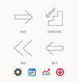 arrows icons downstairs next linear signs vector image