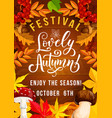autumn festival poster with foliage and mushrooms vector image vector image