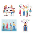 business development concept set with team working vector image