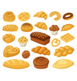 cartoon bakery food pastry products bread loaf vector image vector image