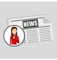 character woman reporter news template graphic vector image vector image
