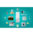 Colored flat icons for kitchen appliances vector image