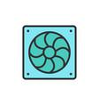 computer fan flat color line icon vector image vector image