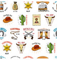 cowboy seamless pattern wild west rodeo or vector image vector image