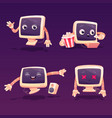 cute computer character in different poses vector image vector image