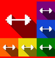 dumbbell weights sign set of icons with vector image vector image
