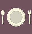 Empty Plate With Spoon and Fork Vintage Style vector image vector image