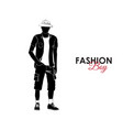 fashionable guy fashion silhouette of a guy vector image