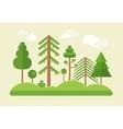 Flat design green trees summer landscape vector image