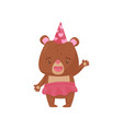 friendly girl bear in pink skirt and party hat vector image vector image