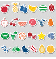fruit theme color simple stickers icons set eps10 vector image vector image