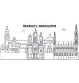 germany wiesbaden line skyline vector image vector image