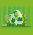 green earth recycle sign planet environment vector image
