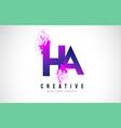 ha h a purple letter logo design with liquid vector image vector image