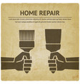 hand with trowel and brush home repair paint vector image vector image