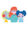 happy teachers day teacher and student girl vector image vector image