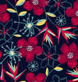 Hibiscus tropical woven embroidery seamless vector image vector image