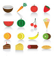 icons set of different ripe fruits and berries vector image vector image