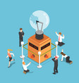 isometric business people shocked when light bulb vector image vector image