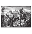 joseph leads mary and jesus on the road to egypt vector image vector image