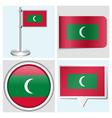 Maldives flag - sticker button label flagstaff vector image vector image