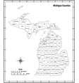 michigan state outline administrative map vector image vector image