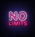 no limits neon text limits neon sign vector image