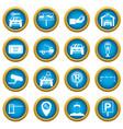parking set icons blue circle set vector image vector image