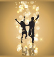party couple on gold bokeh lights background vector image vector image